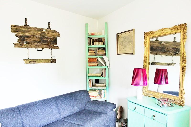 diy leiter b cherregal annefaktur. Black Bedroom Furniture Sets. Home Design Ideas