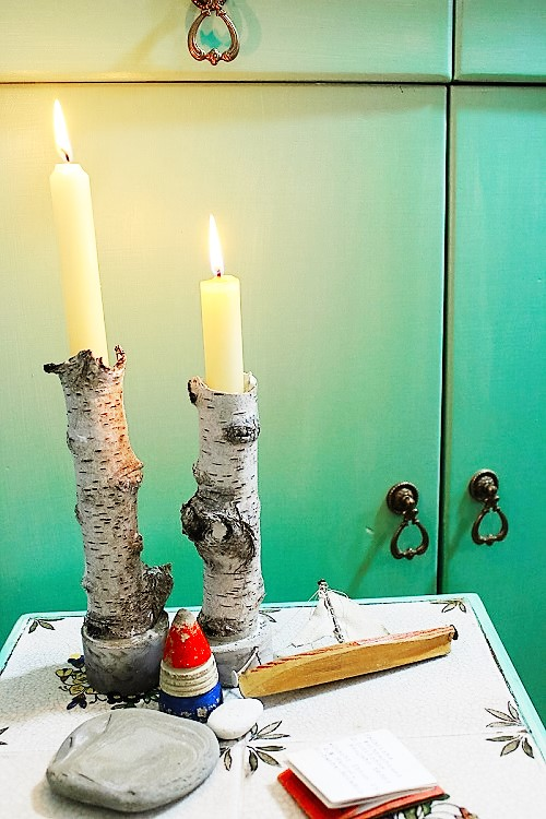 Kerzenhalter aus Birkenästen Annefaktur.de