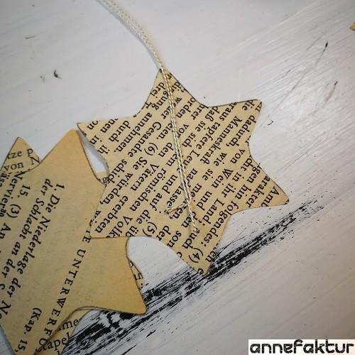 Weihnachtssterne, Papiersterne, Buchseiten, Keksausstecher, Ausstechformen, Berlin, Bastelblog, Annefaktur, DIY, Do it yourself, Weihnachten, Baumschmuck, Weihnachtsdeko